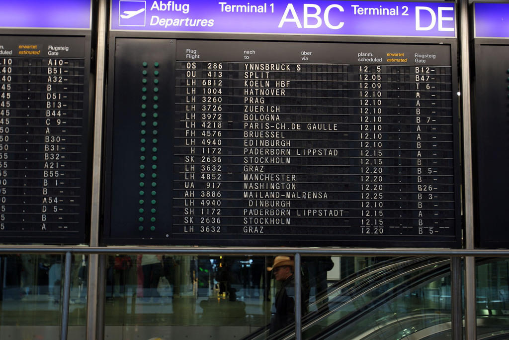 The departure board at Frankfurt airport.