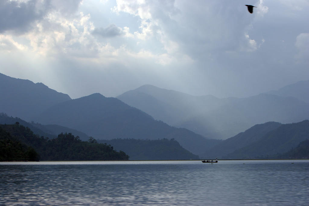 Cloudy dusk at Fewa Lake in Pokhara.