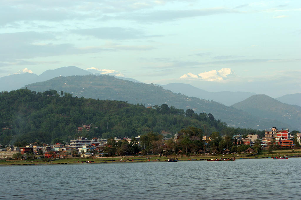 Pokhara from the water.