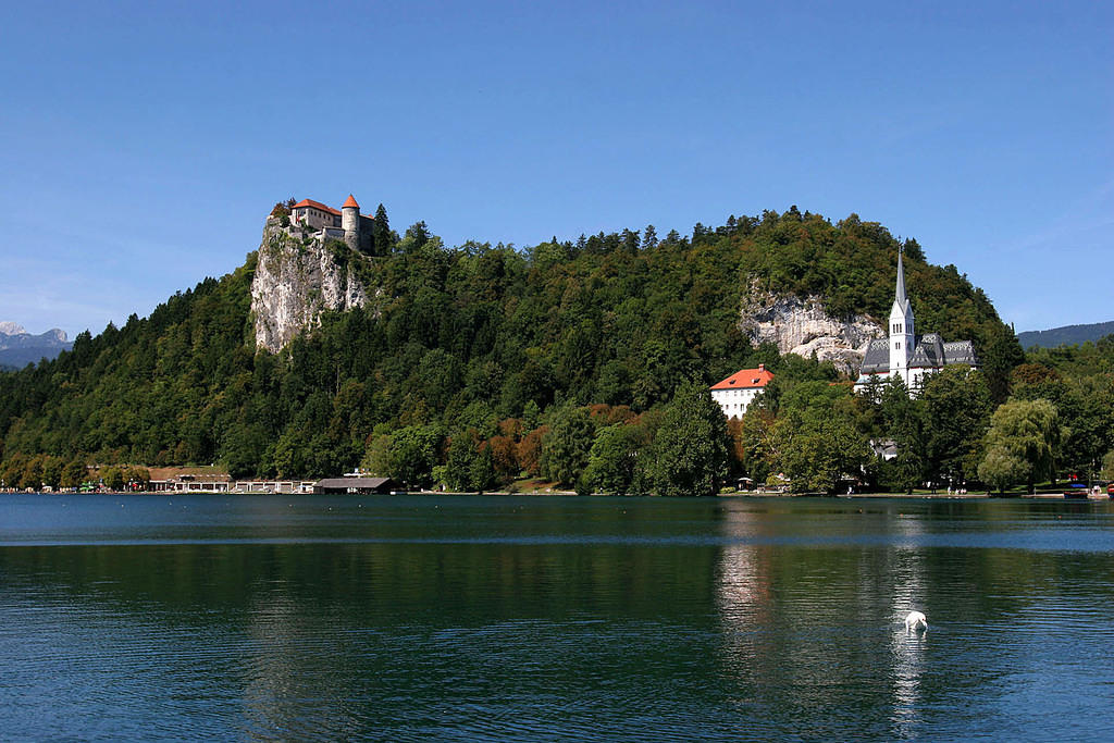 Bled Castle and a church that looks like a sweater