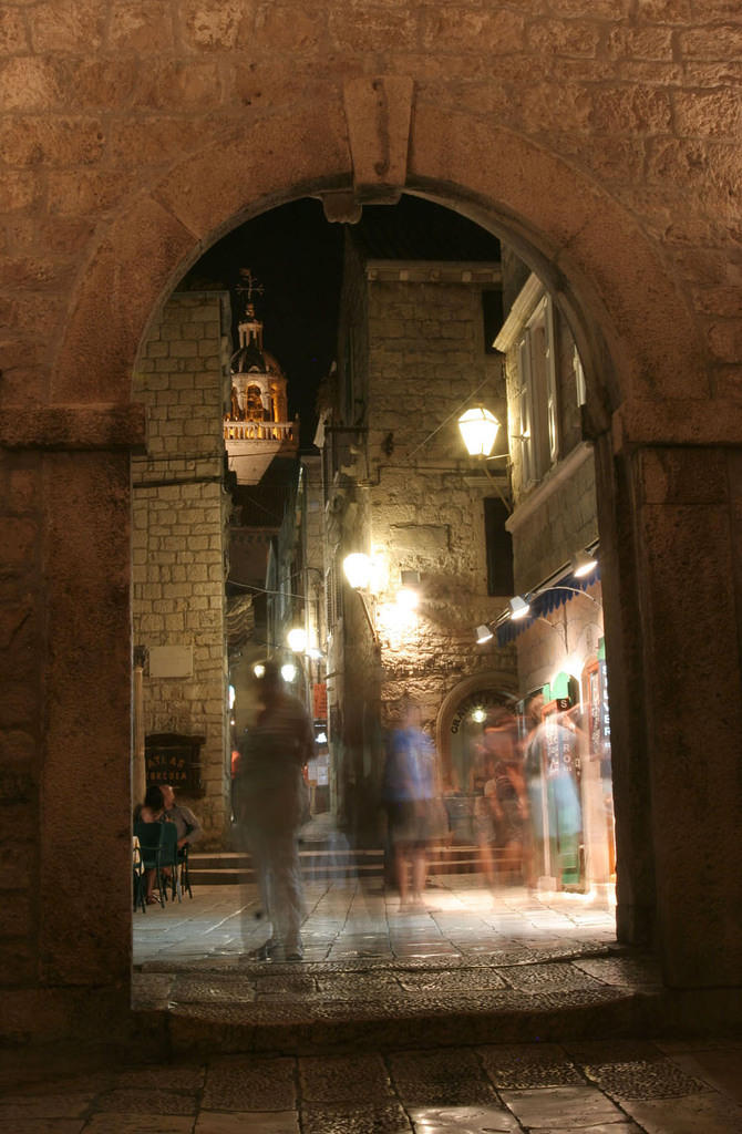 Ghosts in Korcula at the main gate
