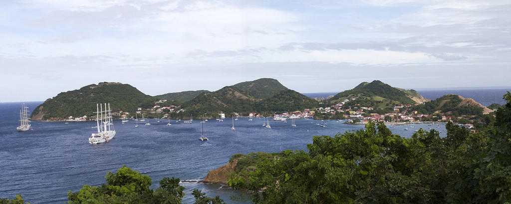 Viewing Bourg des Saintes harbor and Fort Napolean, Terre-de-Haut, Les Saintes, Guadeloupe.