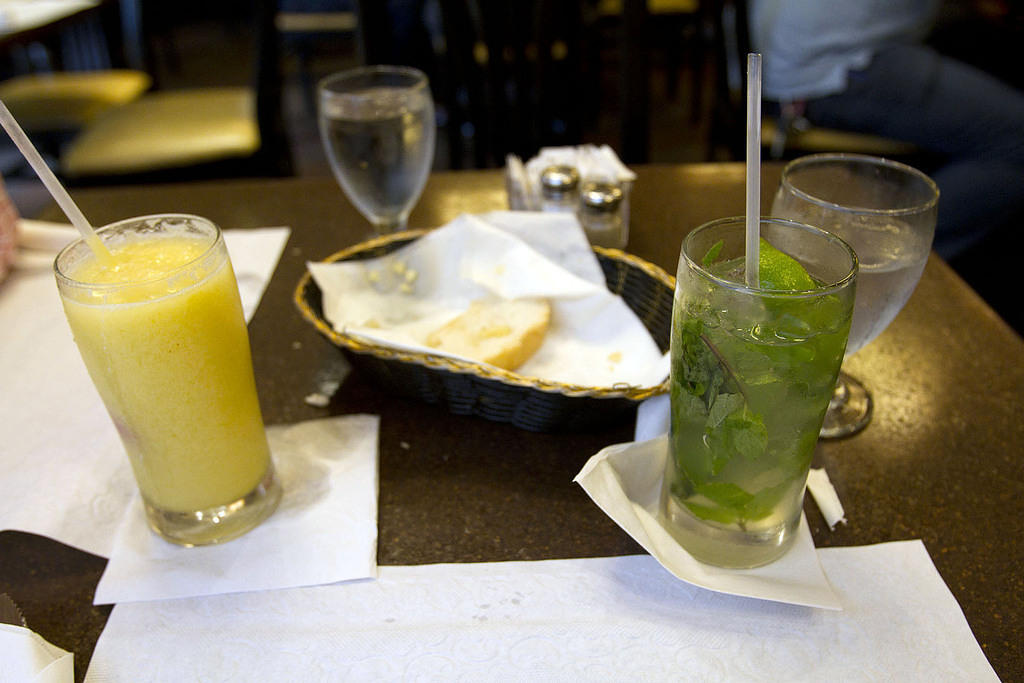 Mango daiquiri and a mojito at Metropol in Isla Verde, P.R.  It's next to a cock fighting arena.  Is that legal?
