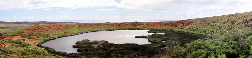 Crater lake at Rano Raraku