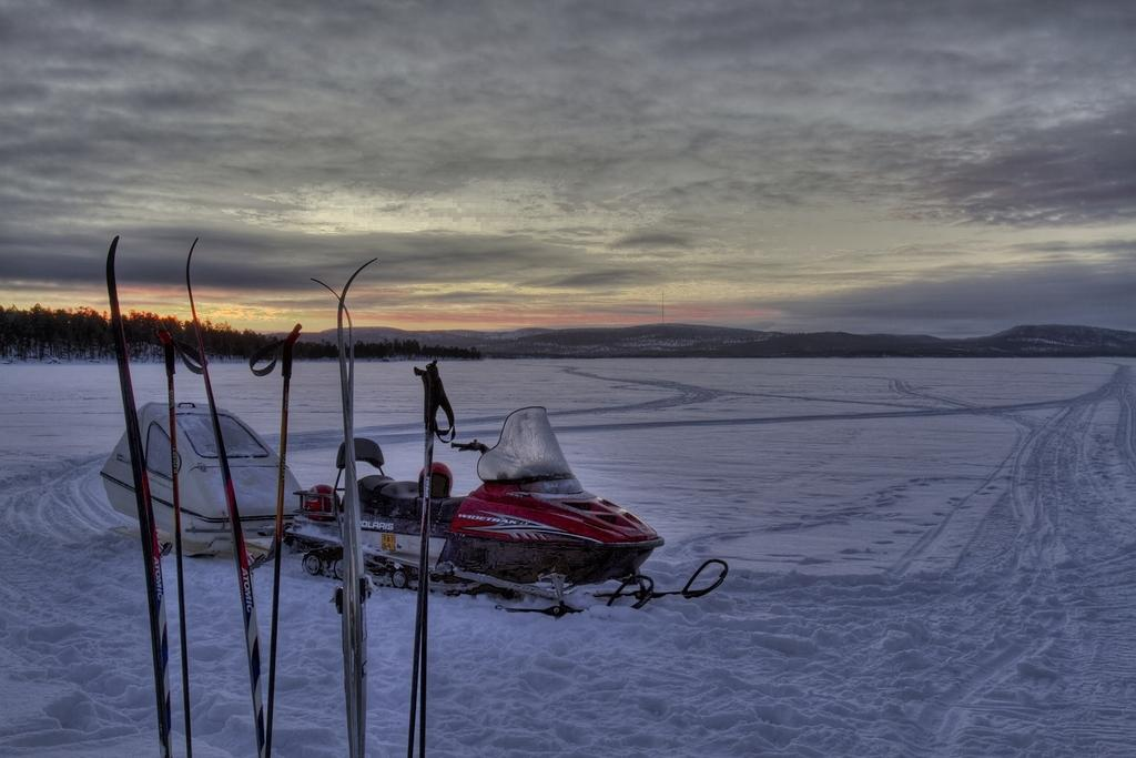 HDR Snowmobiling on Lake Inari