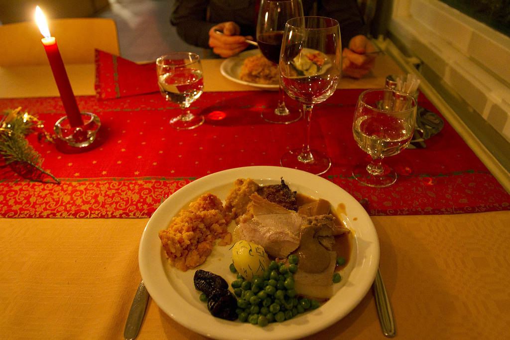 Christmas dinner: carrot and rice pudding, mashed swedes, ham with mustard, and peas with figs