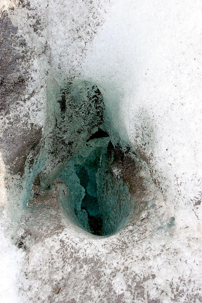 A hole in the ice on our glacier walk