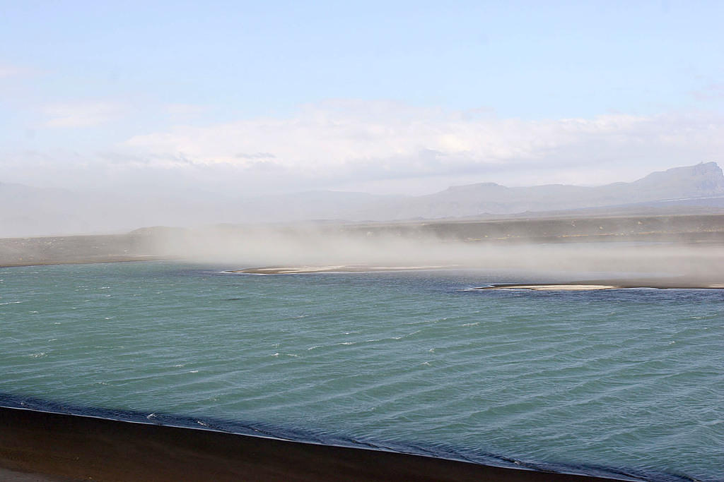 20 minutes after walking on a glacier, we passed a sand storm.  Iceland is crazy