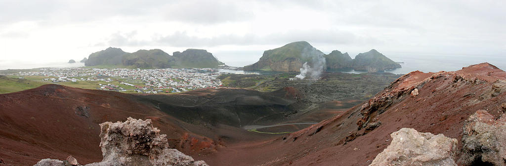 The town on Heimaey Island, from Eldifell.  It erupted in 1973, burying houses and adding a new coastline.