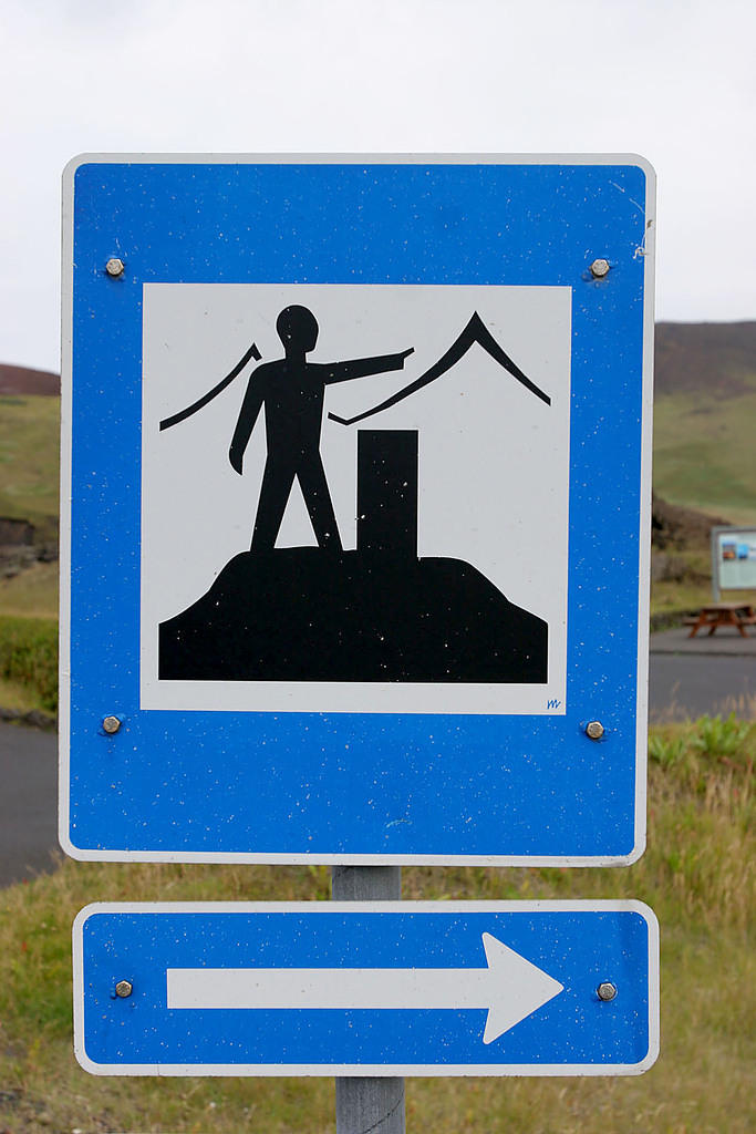 "We think this sign means, ""turn right to stand around and point at stuff."""