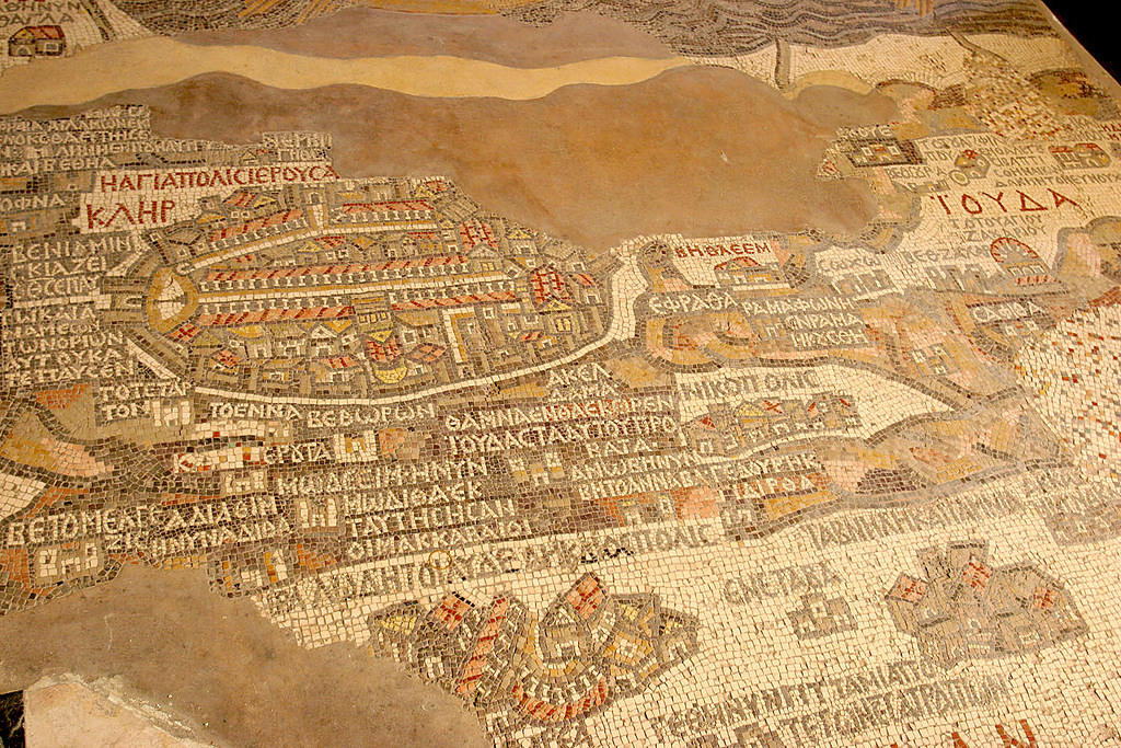 Famous mosaic map of the area in Madaba