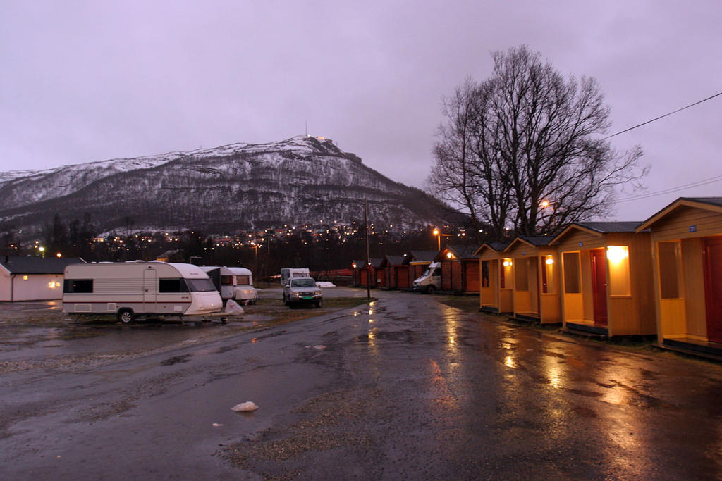 Tromsø Camping.  We stayed in the red 4-person cabin behind the white van on the right.