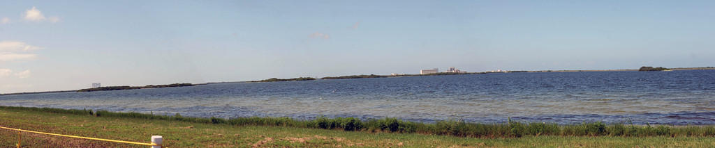 The causeway where we viewed the launch.  The shuttle is a dot roughly in the middle, between two grassy islands.