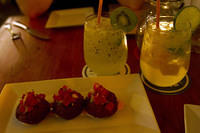 Kiwi caipiroska and fishcakes