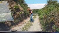 Clearing rocks from the road