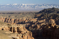 Charyn Canyon and the Tian Shan mountains