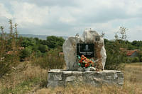 War memorial of a fallen soldier in Bosnia
