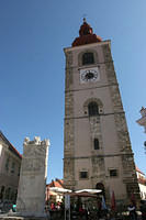 Belltower and Roman marble in Ptuj, Slovenia