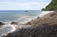The sharp, rocky beach at Champagne Reef, Dominica