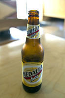 Medalla light, in Puerto Rico.  Never saw Medalla regular.