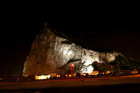 Rock of Gibraltar at night