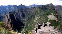 Machu Picchu from atop Wayna Picchu (check out the switchback trail up the mountain)