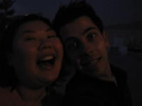 Koren & Blake on a rooftop...drinking wine with chemists. hey, what could be more hilarious?